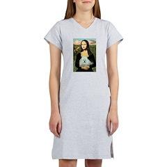 Mona Lisa/Poodle (white/toy) Women's Nightshirt