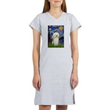 Starry / Poodle (White) Women's Nightshirt