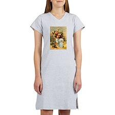 Vase / Poodle (White) Women's Nightshirt
