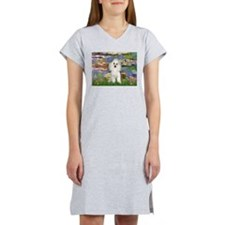 Lilies /Poodle (w) Women's Nightshirt