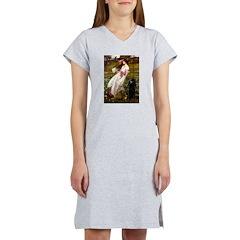 Windflowers / Poodle (BLk-ST) Women's Nightshirt