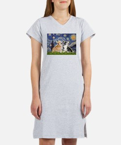 Starry Night / Corgi pair Women's Nightshirt