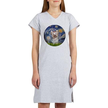 Starry Night Yorkie (T) Women's Nightshirt