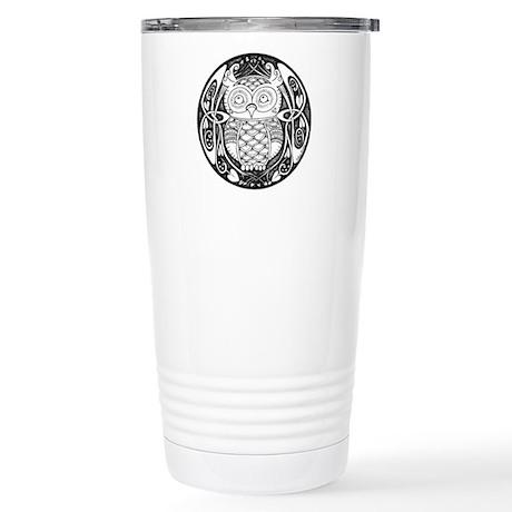 Knotwork Owl Stainless Steel Travel Mug