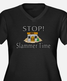 Stop Slammer Time Women's Plus Size V-Neck Dark T-