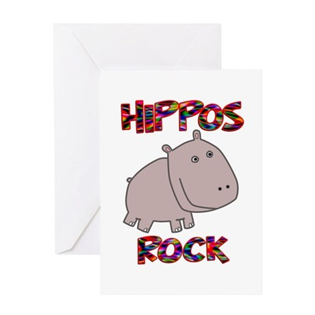 Hippos Rock Greeting Card
