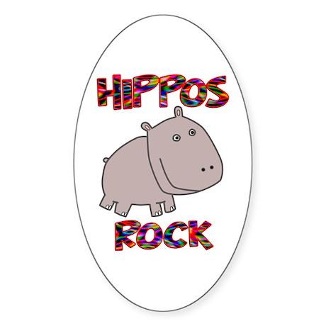 Hippos Rock Sticker (Oval)