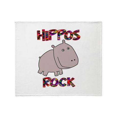Hippos Rock Throw Blanket