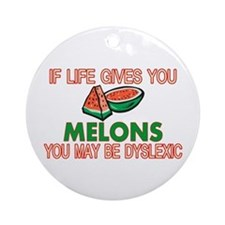 Dyslexic Melons Ornament (Round)