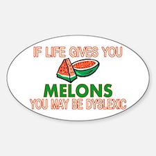 Dyslexic Melons Sticker (Oval)