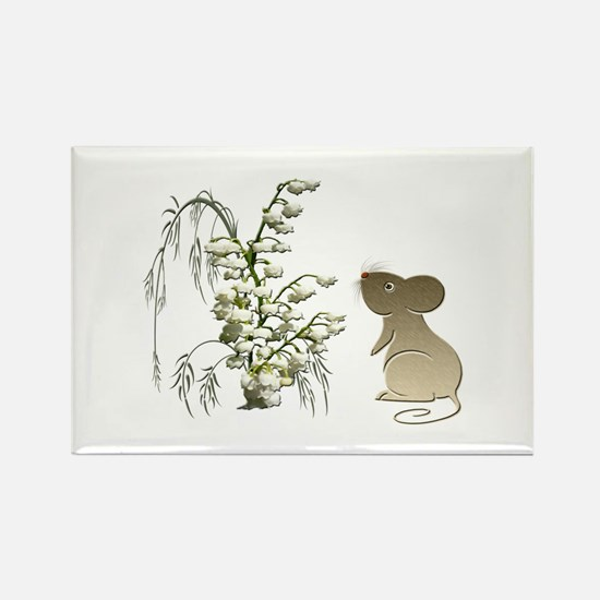 Cute Mouse and lily of the va Rectangle Magnet