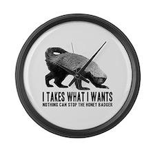 Honey Badger Speaks Large Wall Clock