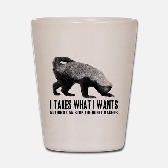Honey Badger Speaks Shot Glass