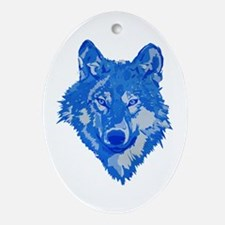 Blue Wolf Head Ornament (Oval)
