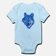 Blue Wolf Head Infant Bodysuit