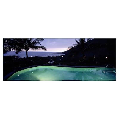 Evening Residential Swimming Pool HI Poster