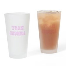 Team Jessica Pink Drinking Glass