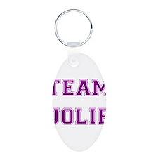 Team Jolie Purple Aluminum Oval Keychain
