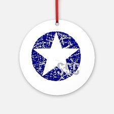 Star Shield Blue Ornament (Round)