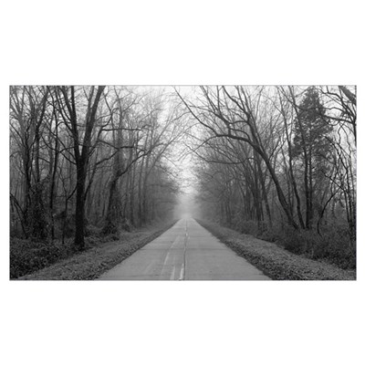 Foggy Tree Lined Road IL Poster
