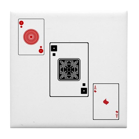 Card Trick Threesome Tile Coaster