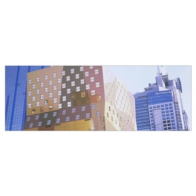 Low angle view of buildings, Times Square, Manhatt Canvas Art