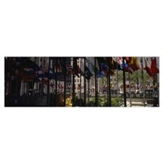 Flags in a row, Rockefeller Plaza, Manhattan, New  Poster