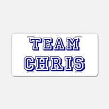 Team Chris Blue Aluminum License Plate
