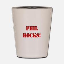 Phil Rocks (Red) Shot Glass