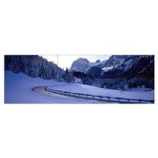 Mountain Road in Winter near Ramsau Germany Poster