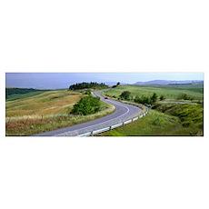 Rural Road near Pienza Tuscany Italy Poster