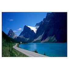 Road Along Bow Lake Alberta Canada