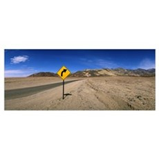 Highway with sign Death Valley National Park Calif Poster