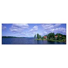 Lake and Cabin near Falun Dalarna Sweden Poster