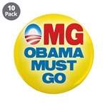 "OMG: Obama Must Go 3.5"" Button (10 pack)"