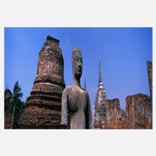 Temple Ruins and Buddha Statue Wat Changlom Thaila