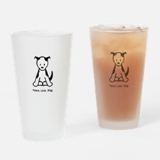 Peace. Love. Wag. Puppy Drinking Glass