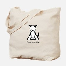 Peace. Love. Wag. Puppy Tote Bag