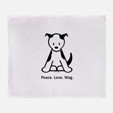 Peace. Love. Wag. Puppy Throw Blanket