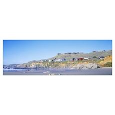 California, Dillin Beach, Beach houses on a rocky  Poster