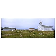Church in a village, St. Pierre Island, Newfoundla Poster