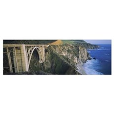 Bridge across two cliffs, Bixby Bridge, Big Sur, C Framed Print
