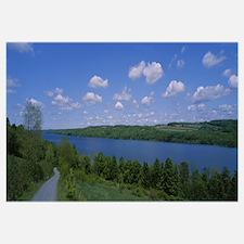 Road near a lake, Owasco Lake, Finger Lakes Region