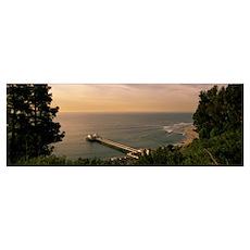 High angle view of a pier, Malibu, California Poster
