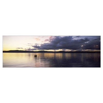 Sailboat Lake Taupo North Island New Zealand Framed Print