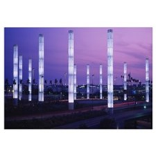 Light sculptures lit up at night, LAX Airport, Los