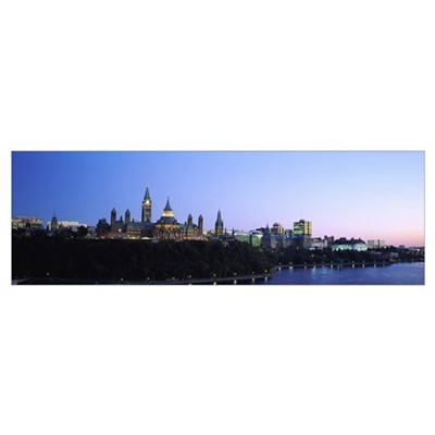 Silhouette of parliament building along a lake, Ot Framed Print