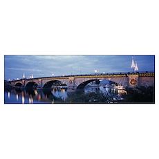 Arch bridge across a river, Lake Havasu, London Br Poster