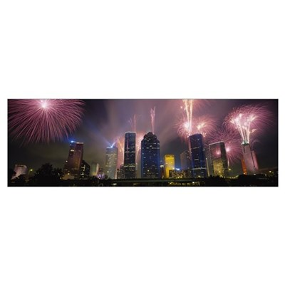 Fireworks over buildings in a city, Houston, Texas Poster