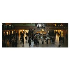 High angle view of a group of people in a station, Poster
